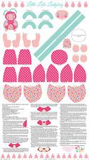 "1  Riley Blake  ""Little Lola Ladybug"" 24"" x 44"" Doll Cut Out Pink Fabric Panel"