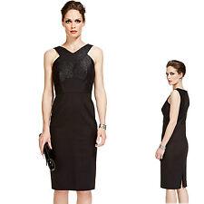 New PER UNA SPEZIALE Panelled Formal BODYCON DRESS ~ Size 12 ~ BLACK