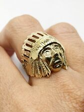 Mens Ring 10K Solid Yellow Gold Diamond Cut Indian Chief Head Ring 6 Grams
