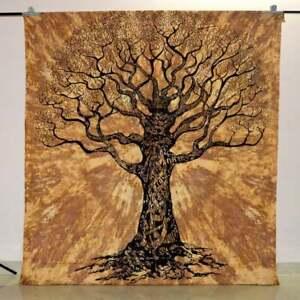 Lebensbaum Mandala Braun Indische Baumwolle Tagesdecke Wandbehang Yoga 210X230cm