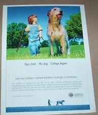 2004 print ad -American Kennel Club cute little boy & big shaggy dog Advertising