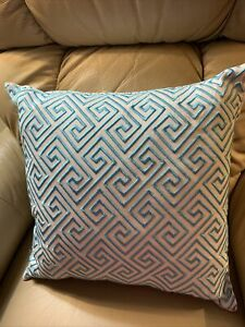"""Trina Turk Embroidered  Pillow Turquoise Blue & White DownFilled Feathers 16"""""""