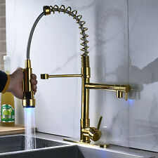 Pull Down Sprayer Swivel Kitchen Faucets Dual Spout Cover Gold Deck Mount Spring