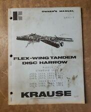 Krause Flex Wing Tandem Disc Harrow Operation Manual 1952 2 1j 3137 M2