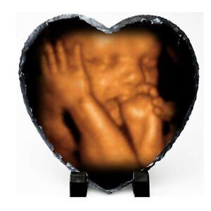 Personalised  Baby Scan Photo Heart  Shape Rock Slate
