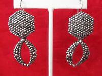 Pair of Vintage  2 1/2-Inch  Cut Steel Earrings