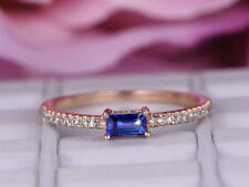 0.68 Ct Emerald Diamond Blue Sapphire Engagement Ring 14K Real Rose Gold 4 5