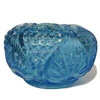 "LARGE 6"" DIAMETER FENTON ART GLASS BLUE ROSE BOWL"