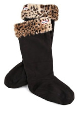 Hunter Womens Black Leopard Cuff Welly Boot Socks Sz M 6508