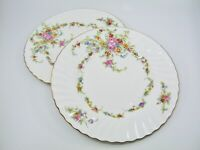 2 pcs Minton Lorraine Luncheon Plate Pink Flowers Floral Ring Gold Rim Scalloped