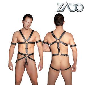 ZADO Imbracatura Total Body Uomo con Anello per Pene Bondage Men Harness Ring