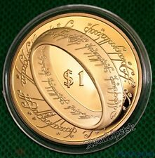 3222717F New Zealand 2003 Proof LORD OF THE RING Silver $1 Gold Plating Scarce