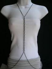 Women Pewter Black Braided Chain Links Harness Metal Body Chain Fashion Jewelry