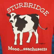 vintage 80s STURBRIDGE MASSACHUSETTS MOO COW T-Shirt M/L milk dairy farm thin