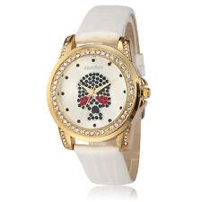 Alias Kim Skull Face Crystal Round Dial White Leather Women Bracelet Wrist Watch