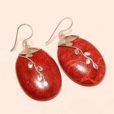 Genuine Italian Coral Gemstone 925 Sterling Silver Earring Designer Jewelry Gift