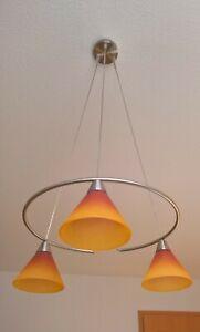 Dekorative Hängelampe, 3-flammig+Stehlampe 1-Flammig Milchglas-Teracotta