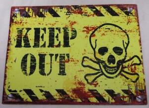 KEEP OUT Sign with Grinning Skull & Crossbones