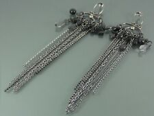 EXTRA LONG TASSEL GRAPHITE EARRINGS WITH FACETED BLACK CRYSTAL BY MIKEY LONDON