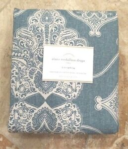"POTTERY BARN ~ ALANA MEDALLION DRAPE in BLUE~ 50"" X 96"" ~ SOLD OUT"