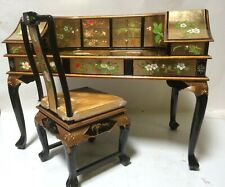 Oriental Desk furniture gold leaves French lacquer with chair