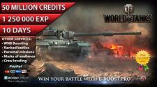 World of Tanks | 50 mil credits | 1250k exp | 10 days | not bonus code | WoT