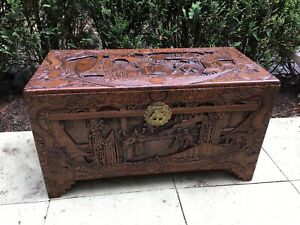 Carved Chinese Camphor Wood Chest / Trunk Heavily Carved