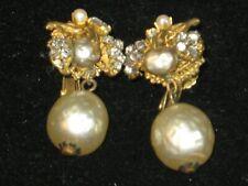 MIRIAM HASKELL Signed Faux Baroque Pearl Rhinestone Ornate Drop Dangle Earrings!
