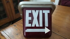 Vintage EXIT SIGN Ruby Red, Triangula,Fire, Industrial, Theatre, Ceiling