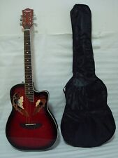 New 6 string Acoustic Electric Guitar, Roundback, Redburst