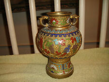 Superb Japanese Double Handle Urn Vase-Brass-Intricate Etched Patterns-Colorful