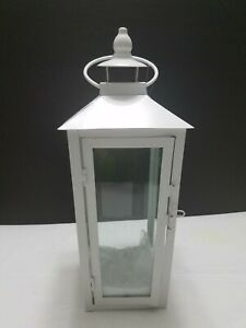 White Metal Lantern 16 inch