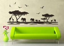 Wandtattoo Afrika Landschaft schwarz Löwe Elefant Baum Wohnzimmer Schlafzimmer