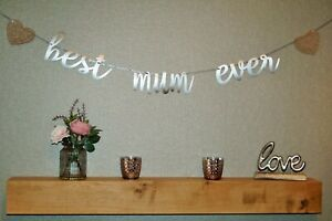 """BEST MUM EVER"" Silver Birthday/Mothers Day Banner Decoration 2.1mtr"
