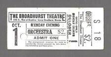 "Bernard Shaw ""MISALLIANCE"" (Broadhurst Theatre's First Production) 1917 Ticket"