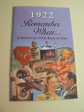 1922 Remember When Kardlet Book - Great for Birthdays - Reunions - Anniversaries
