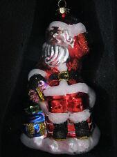 Christopher Radko Sparkle Bright Santa Ornament on Chimney w Gifts Blown Glass
