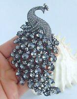 Vintage Animal Peacock Brooch Pin Gray Rhinestone Crystal Pendant 05651C13