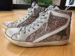 Golden Goose Kids Slide Sneakers Trainers Multi Glitter / Olive Star EU33 /UK1