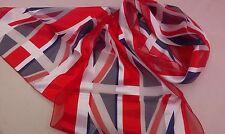 BNWT-Red/White/Blue-Union Jack Satin/Chiffon Scarf-155cm x 35cm