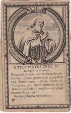 S. TRUDPERTUS EREM. M. - Santino Originale del 1600 Con Biografia sul Retro