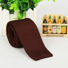 Men's Fashion Solid Knit Knitted Tie Necktie Tie Narrow Slim Skinny Woven New