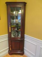 Corner Cabinet Vintage Solid Cherry Lighted Two Locking Front Doors Six Shelves