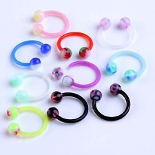 10pcs Punk UV Colorful Round Ball 16G Barbell Nose Hoop Horseshoe Rings Piercing