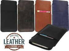 HAND SEWN OF GENUINE LEATHER SLIM POUCH WITH CARD POCKET CASE COVER FOR PHONE