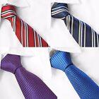 100% SETA UOMO Cravatta tinta unita a righe nero rosso blu bianco 8cm largo