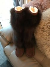 Size 5 Ladies Rabbit Fur And Suede Real . Premium Boots New In Box