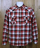 MENS RETRO OCEAN PACIFIC FLANNEL SHIRT SIZE S RED CHECK LONG SLEEVE 100% COTTON