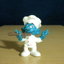 Smurfs Greedy Smurf Chef Cook Spoon PVC Figure Vintage Toy Baker Figurine 20042