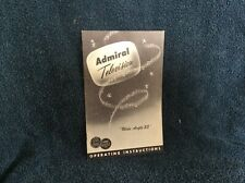 Vintage Admiral Television Operating Instructions, Wide Angle 23, 1959, B9